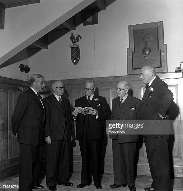 Football London England Tottenham Hotspur directors in the boardroom at White Hart Lane LR Arthur Rowe FWale FBearman WHeryet and EDewhurst Hornsby