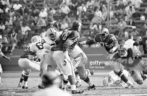 Los Angeles Rams Deacon Jones and Merlin Olsen in action vs Green Bay Packers Los Angeles CA 12/8/1963 CREDIT Curt Gunther