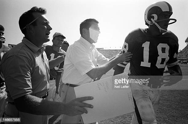 Los Angeles Rams head coach George Allen and QB Roman Gabriel on sidelines during game vs New Orleans Saints at Tulane Stadium New Orleans LA...