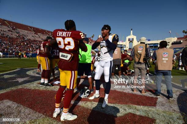 Los Angeles Rams Josh Reynolds about to take off jersey on field after game vs Washington Redskins at Los Angeles Memorial Coliseum Los Angeles CA...