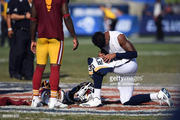 Los Angeles Rams Josh Reynolds signing his jersey on field after game vs Washington Redskins at Los Angeles Memorial Coliseum Los Angeles CA CREDIT...