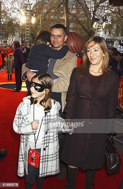 Football manager Jose Mourinho and family arrive at the UK Premiere of the new Disney/Pixar animation 'The Incredibles' at the Empire Leicester...