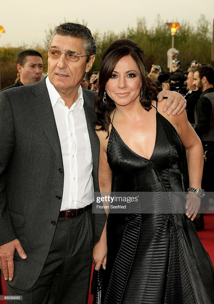 Football manager Rudi Assauer and actress Simone Thomalla arrives for the German TV Award 2008 at the Coloneum on October 11, 2008 in Cologne, Germany.