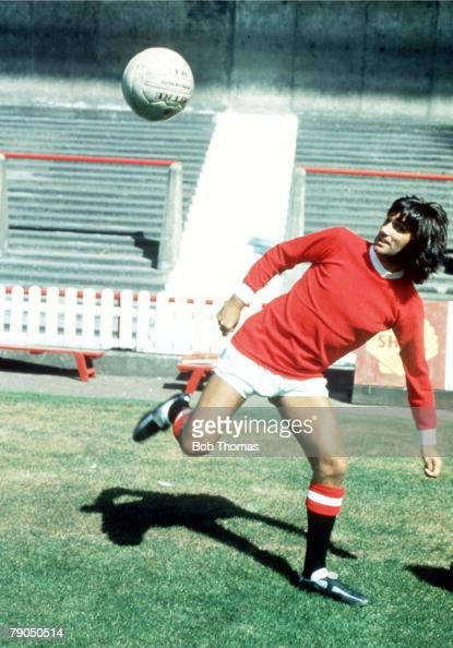 Football Manchester United footballer George Best juggles with the ball and performs ball tricks at a photo call