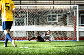 Football match in stadium: Missed penalty kick