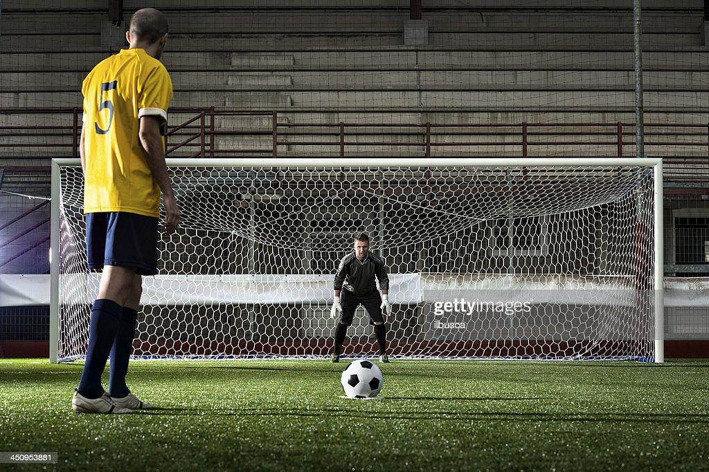 Football match in stadium: Penalty kick : Stock Photo