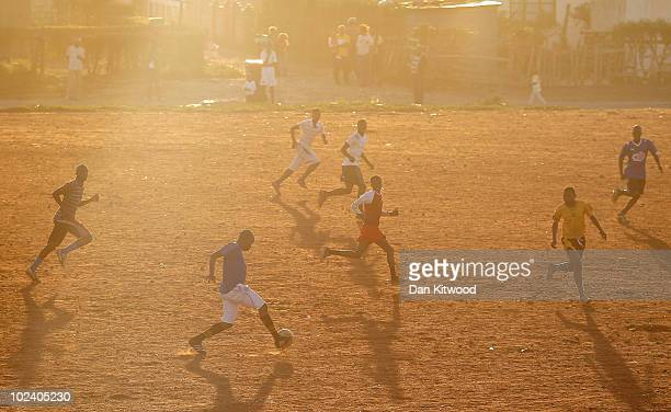 A football match is played in the New Brighton Township on June 24 2010 in Port Elizabeth South Africa The New Brighton Township was established in...