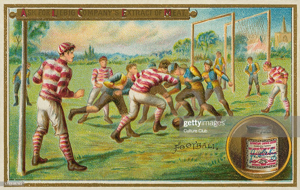 A football match Liebig card English sports 1895