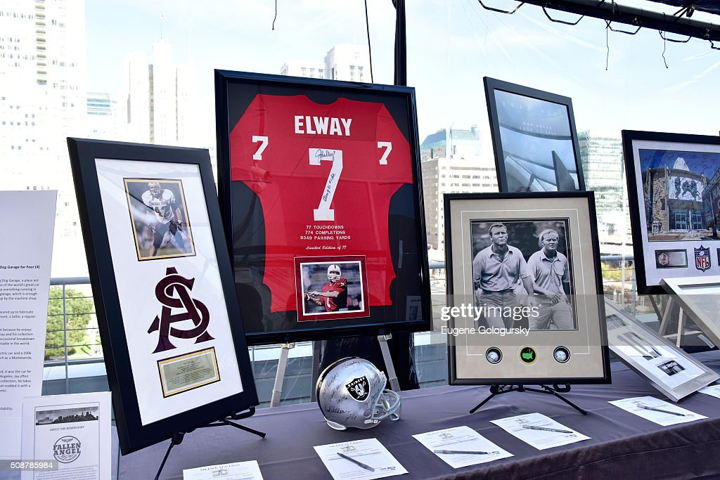 Football memorabilia and auction items on display during the 29th Annual Leigh Steinberg Super Bowl Party on February 6, 2016 in San Francisco, California.