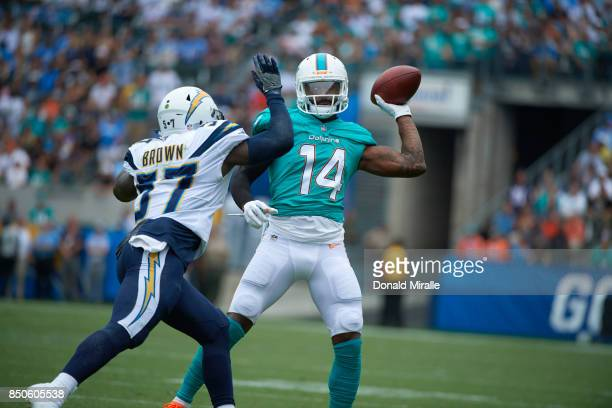 Miami Dolphins Jarvis Landry in action passing vs Los Angeles Chargers Jatavis Brown at StubHub Center Carson CA CREDIT Donald Miralle