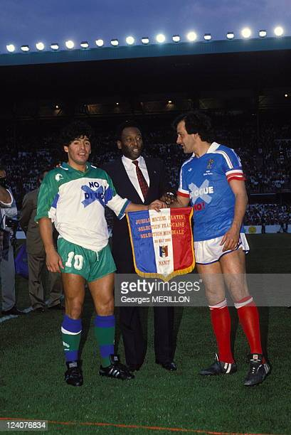 Football Michel Platini jubilee In Nancy France On May 23 1988 Maradona Pele and Michel Platini