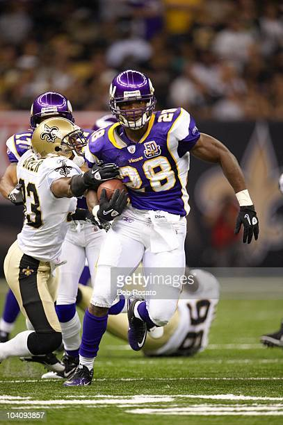 Minnesota Vikings Adrian Peterson in action rushing vs New Orleans Saints New Orleans LA 9/9/2010 CREDIT Bob Rosato