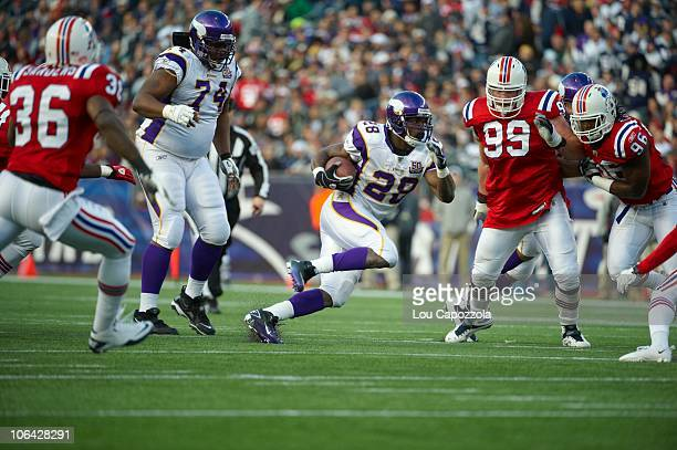 Minnesota Vikings Adrian Peterson in action rushing vs New England Patriots Foxborough MA CREDIT Lou Capozzola