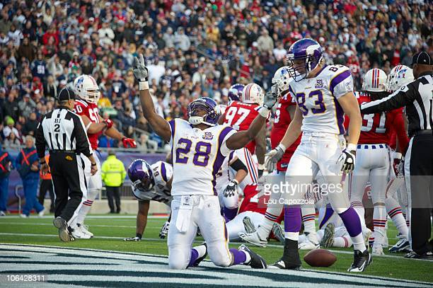 Minnesota Vikings Adrian Peterson victorious after scoring touchdown vs New England Patriots Foxborough MA CREDIT Lou Capozzola