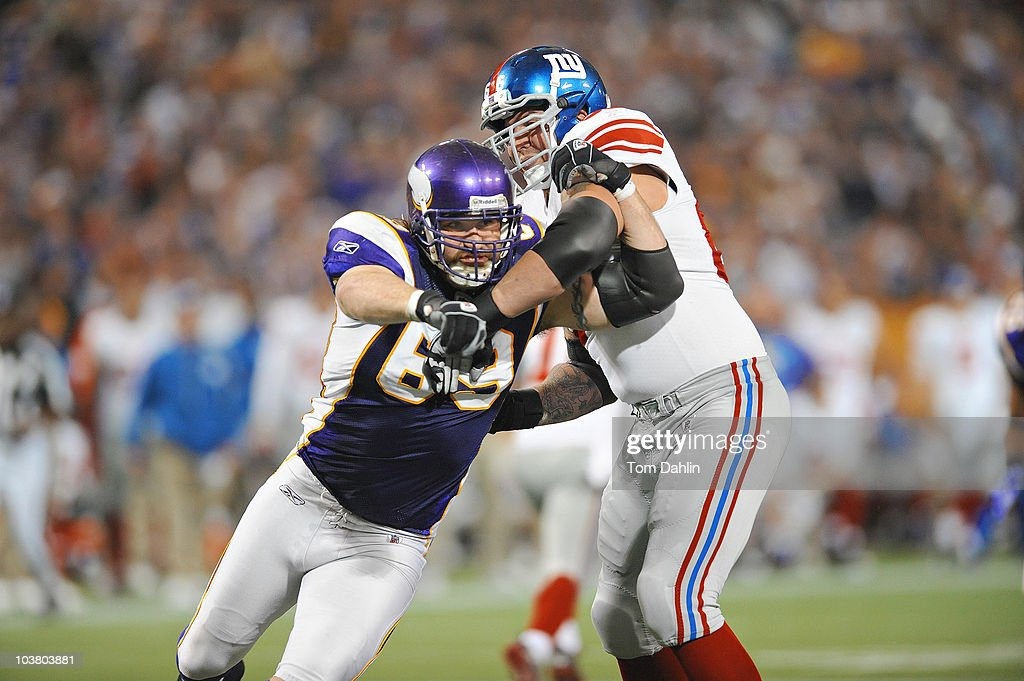 Minnesota Vikings <a gi-track='captionPersonalityLinkClicked' href=/galleries/search?phrase=Jared+Allen&family=editorial&specificpeople=239098 ng-click='$event.stopPropagation()'>Jared Allen</a> (69) in action vs New York Giants <a gi-track='captionPersonalityLinkClicked' href=/galleries/search?phrase=David+Diehl&family=editorial&specificpeople=240576 ng-click='$event.stopPropagation()'>David Diehl</a> (66). Minneapolis, MN 1/3/2010
