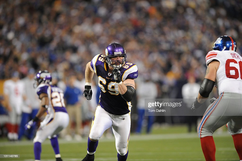 Minnesota Vikings <a gi-track='captionPersonalityLinkClicked' href=/galleries/search?phrase=Jared+Allen&family=editorial&specificpeople=239098 ng-click='$event.stopPropagation()'>Jared Allen</a> (69) in action vs New York Giants <a gi-track='captionPersonalityLinkClicked' href=/galleries/search?phrase=David+Diehl&family=editorial&specificpeople=240576 ng-click='$event.stopPropagation()'>David Diehl</a> (66) at H.H. Humphrey Metrodome. Tom Dahlin F26 )