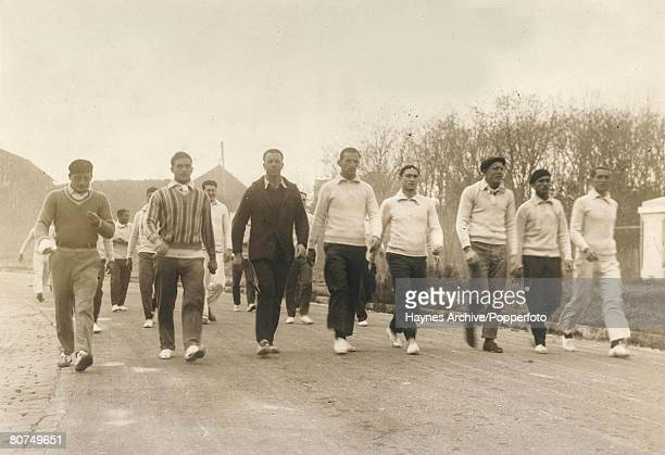Football Montevideo Uruguay PreWorld Cup Finals Yugoslavian players take a training walk prior to the World Cup Tournament