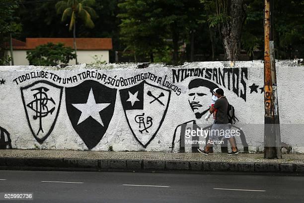 A football mural painting celebrating Botafogo de Futebol e Regatas on Rua General Severiano in Rio de Janeiro Brazil outside their club house and...