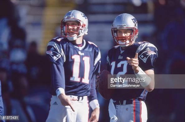 New England Patriots QB Drew Bledsoe and QB Tom Brady : News Photo