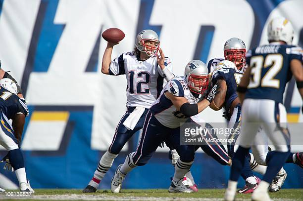 New England Patriots QB Tom Brady in action pass vs San Diego Chargers San Diego CA CREDIT John W McDonough