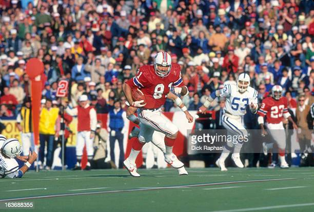 New England Patriots Russ Francis in action vs New York Jets at Schaefer Stadium Foxborough MA CREDIT Dick Raphael