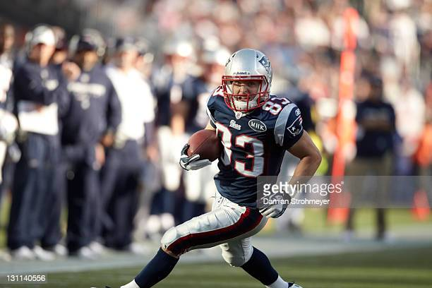 New England Patriots Wes Welker in action vs San Diego Chargers at Gillette Stadium Foxborough MA CREDIT Damian Strohmeyer