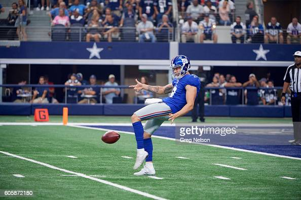 New York Giants Brad Wing in action punting vs Dallas Cowboys at ATT Stadium Arlington TX CREDIT Greg Nelson