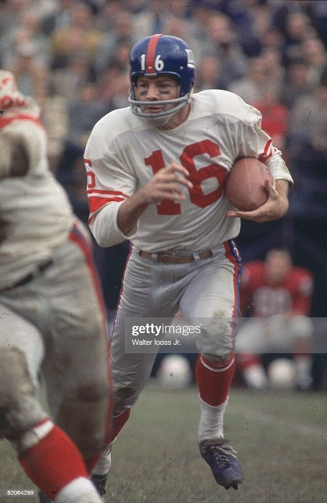 New York Giants Frank Gifford (16) in action, rushing in action vs St. Louis Cardinals. St. Louis, MO 11/3/1963