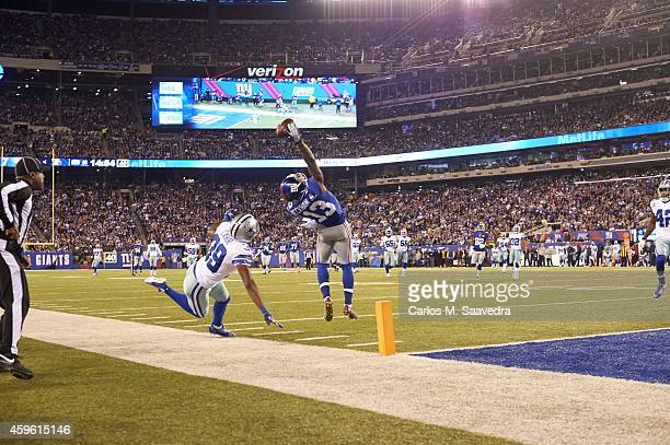 New York Giants Odell Beckham Jr in action making leaping catch for touchdown vs Dallas Cowboys at MetLife Stadium Sequence East Rutherford NJ CREDIT...