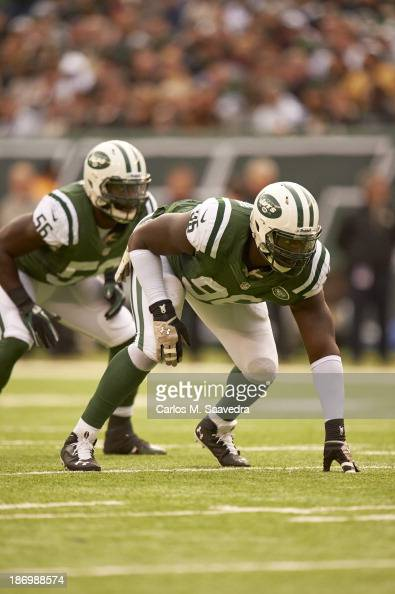 New York Jets Muhammad Wilkerson at line of scrimmage during game vs New Orleans Saints at MetLife Stadium East Rutherford NJ CREDIT Carlos M Saavedra