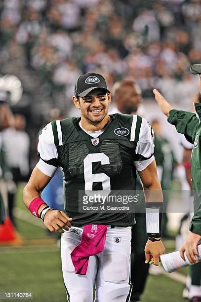 New York Jets QB Mark Sanchez on sidelines during game vs Minnesota Vikings at New Meadowlands Stadium East Rutherford NJ CREDIT Carlos M Saavedra