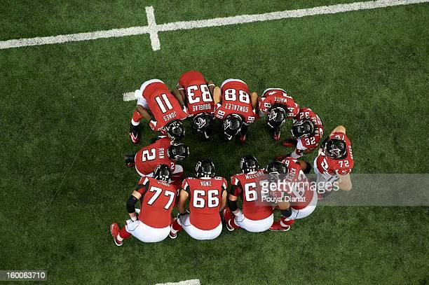 NFC Playoffs Aerial view of Atlanta Falcons Matt Ryan in huddle with teammates during game vs San Francisco 49ers at Georgia Dome Atlanta GA CREDIT...