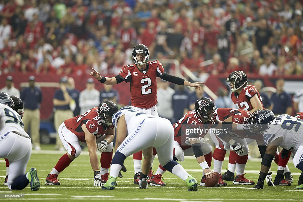 Atlanta Falcons QB Matt Ryan (2) at line of scrimmage during game vs Seattle Seahawks at Georgia Dome. Simon Bruty F139 )