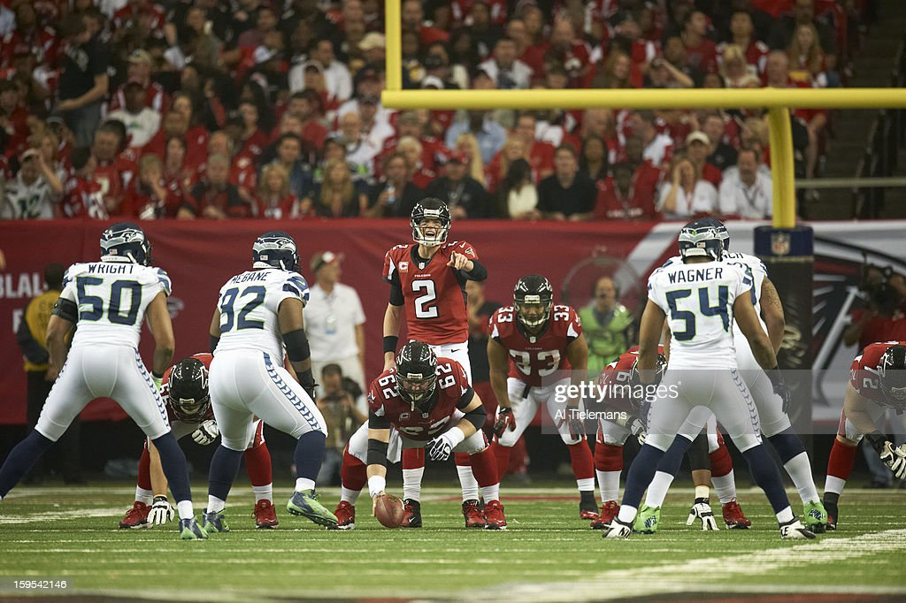Atlanta Falcons QB Matt Ryan (2) at line of scrimmage during game vs Seattle Seahawks at Georgia Dome. Al Tielemans F81 )