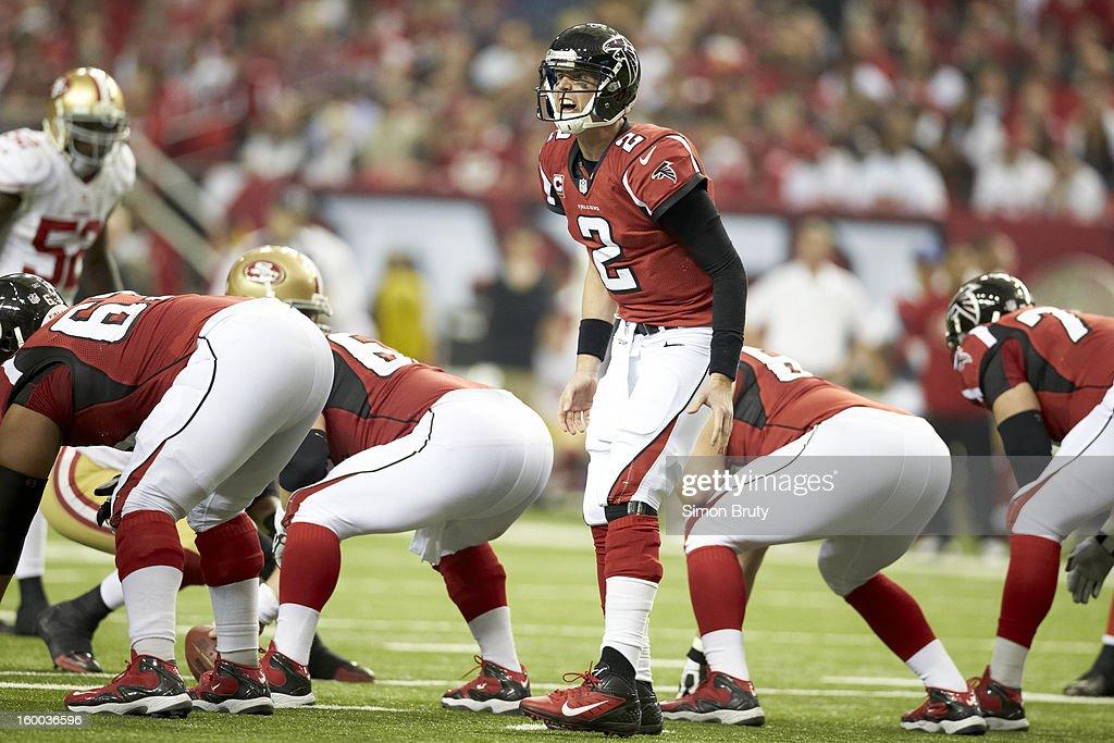 Atlanta Falcons QB Matt Ryan (2) at line of scrimmage during game vs San Francisco 49ers at Georgia Dome. Simon Bruty F17 )