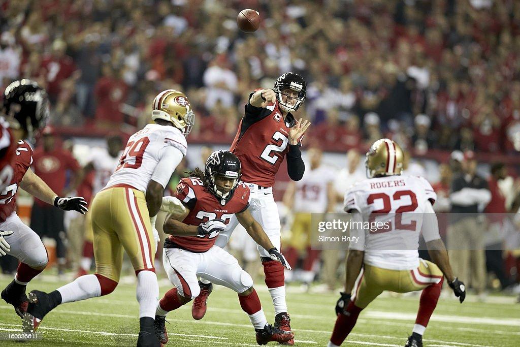 Atlanta Falcons QB Matt Ryan (2) in action, making pass vs San Francisco 49ers at Georgia Dome. Simon Bruty F83 )