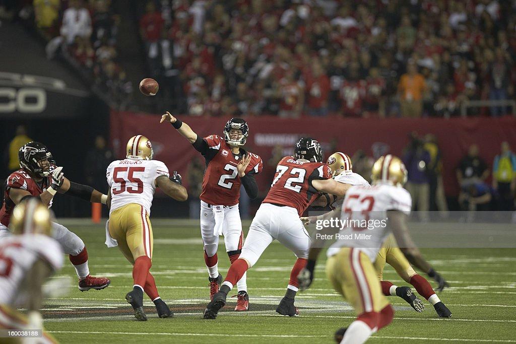 Atlanta Falcons QB Matt Ryan (2) in action, making pass vs San Francisco 49ers at Georgia Dome. Peter Read Miller F425 )