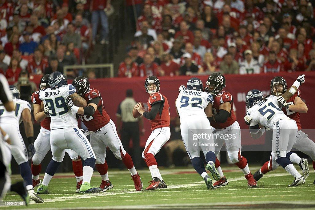 Atlanta Falcons QB Matt Ryan (2) in action vs Seattle Seahawks at Georgia Dome. Al Tielemans F105 )