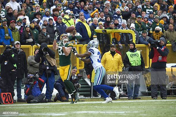 NFC Playoffs Green Bay Packers Jordy Nelson in action making catch vs Dallas Cowboys Brandon Carr at Lambeau Field Green Bay WI CREDIT David E Klutho