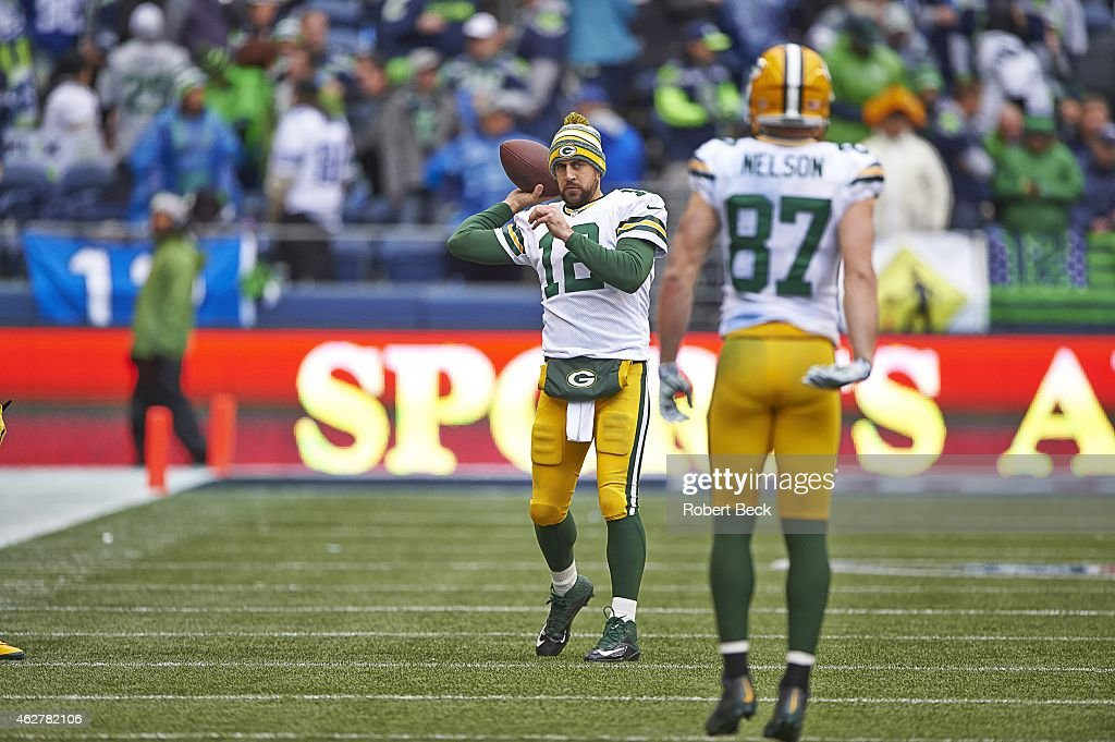 NFC Playoffs Green Bay Packers QB Aaron Rodgers during warmups with Jordy Nelson before game vs Seattle Seahawks at CenturyLink Field Seattle WA...