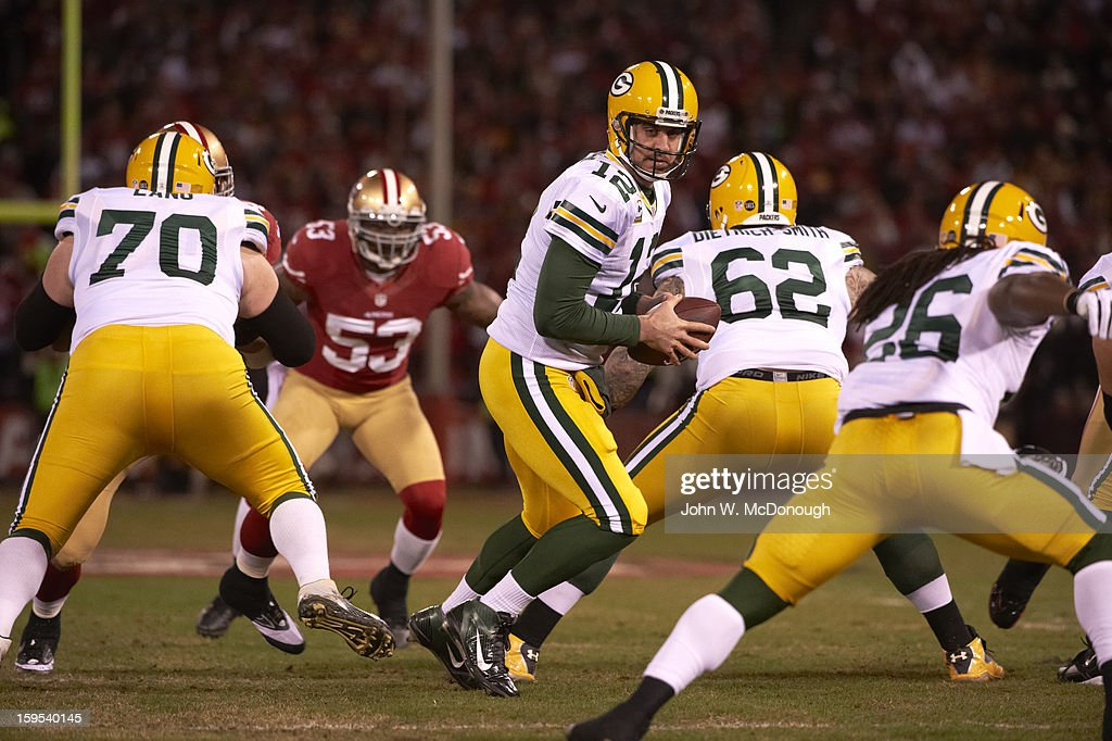 Green Bay Packers QB Aaron Rodgers (12) in action vs San Francisco 49ers at Candlestick Park. John W. McDonough F99 )