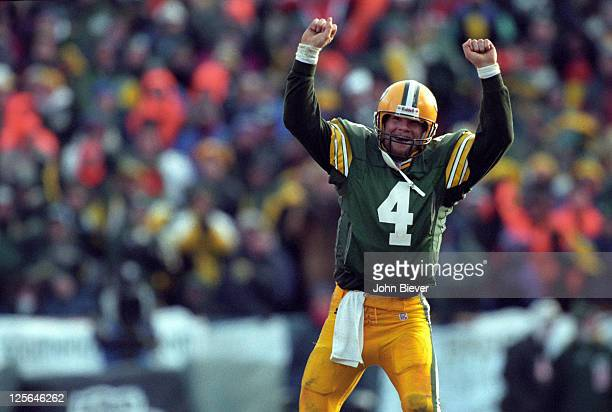 NFC Playoffs Green Bay Packers QB Brett Favre victorious during game vs Carolina Panthers at Lambeau Field Green Bay WI CREDIT John Biever
