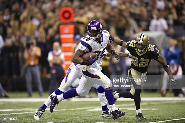 NFC Playoffs Minnesota Vikings Adrian Peterson in action vs New Orleans Saints New Orleans LA 1/24/2010 CREDIT Bob Rosato