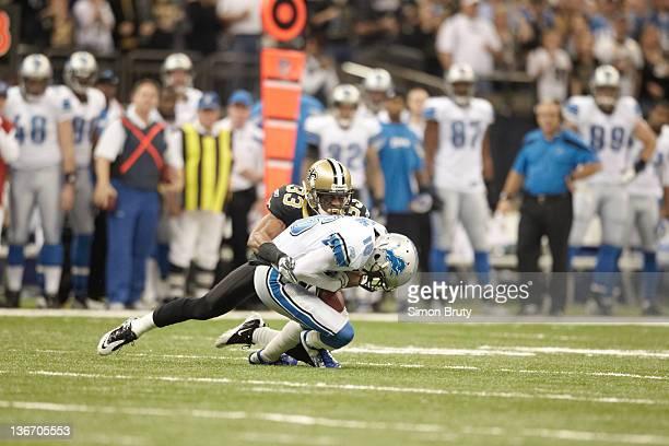 NFC Playoffs New Orleans Saints Jabari Greer in action defense vs Detroit Lions Titus Young at MercedesBenz Superdome New Orleans LA CREDIT Simon...