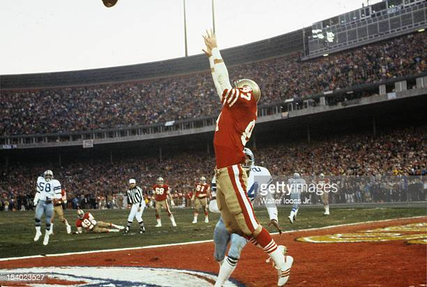 NFC Playoffs San Francisco 49ers Dwight Clark in action making catch and scoring game winning touchdown vs Dallas Cowboys Everson Walls during final...