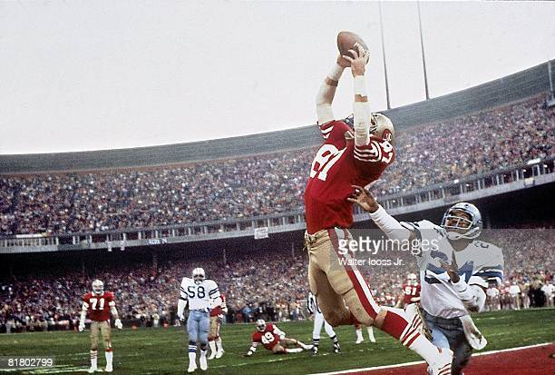 Football NFC Playoffs San Francisco 49ers Dwight Clark in action making catch and scoring game winning touchdown vs Dallas Cowboys Everson Walls...