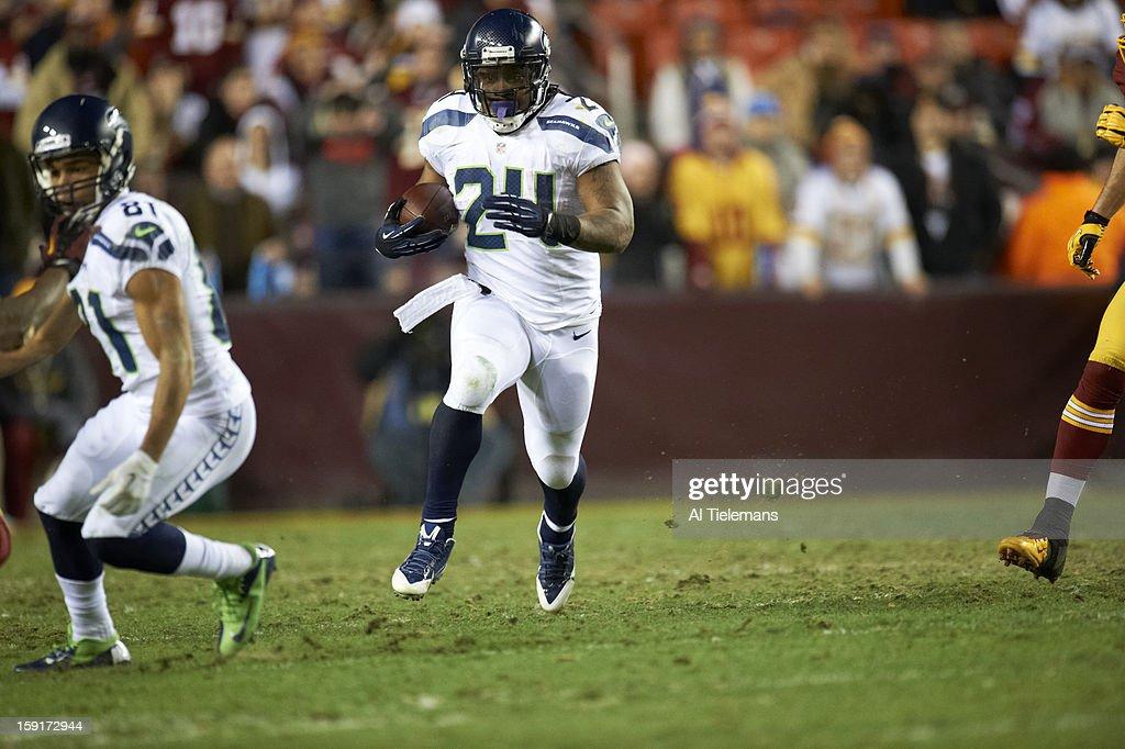 Seattle Seahawks Marshawn Lynch (24) in action, rushing vs Washington Redskins at FedEx Field. Al Tielemans F214 )