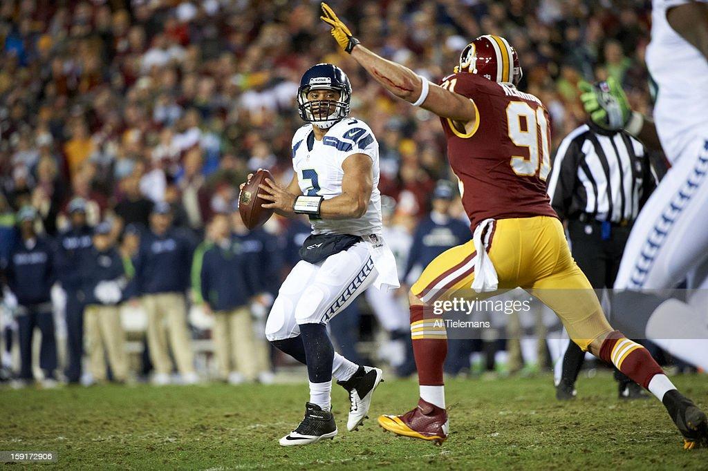Seattle Seahawks QB Russell Wilson (3) in action vs Washington Redskins at FedEx Field. Al Tielemans F365 )