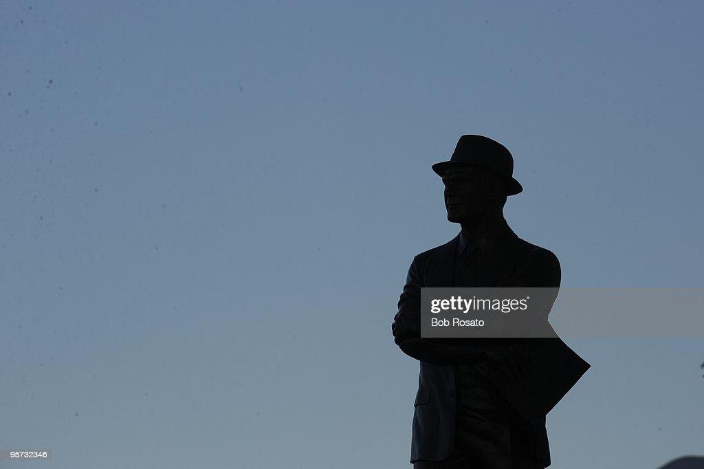 Silhouette of statue of former Dallas Cowboys coach Tom Landry at Cowboys Stadium during game vs Philadelphia Eagles. Arlington, TX 1/9/2010