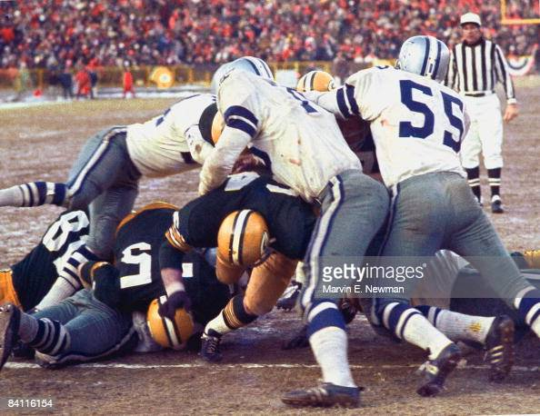 NFL Championship Green Bay Packers QB Bart Starr in action scoring game winning touchdown behind block from teammate Jerry Kramer vs Dallas Cowboys...